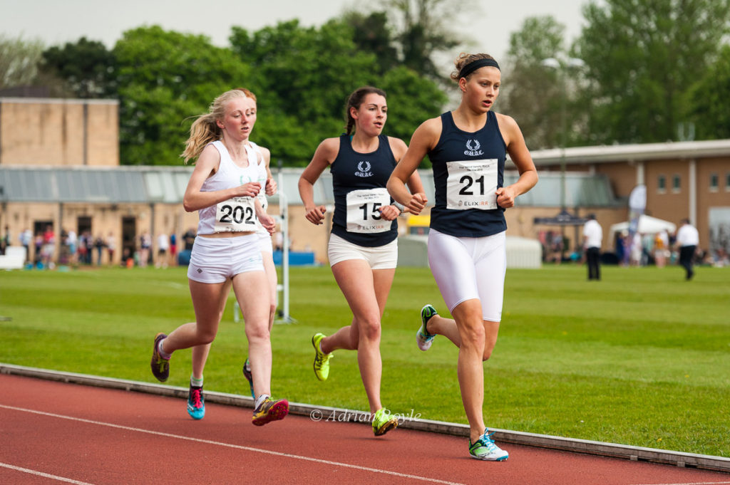 Photograph by Adrian Royle; Sophia Saller leads the 5000m